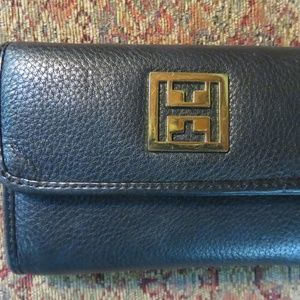 Handbags - Black soft leather trifold wallet, euc